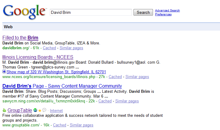 I regained my #1 spot for David Brim in Google